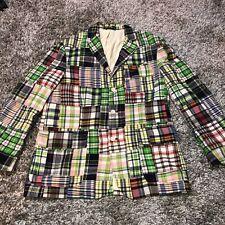 Polo Ralph Lauren Patchwork Madras 3 Button Blazer Jacket Mens Sz M  *Flaws*