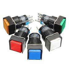 16mm Square Momentary Push Button Switch Self-Lock LED Lamp 5 Terminal