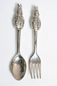 Baby Silver Tone Plate Peter Rabbit Spoon Fork Child 4.5 Inch Bunny Easter