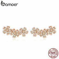 BAMOER S925 Sterling silver Rose Stud Earrings CZ Love flower For Women Jewelry