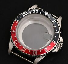 GMT style watch case Glass back ETA 2836 ETA 2824-2 Seagull ST1612, Miyota 8205