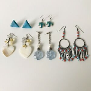 5 pairs White Blue Silver Tone Beaded Dangle Earrings Bundle Costume Jewellery