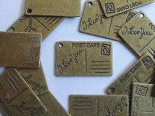 10 Antique Gold Rectangular Postcard Metal Jewellery Charms 26x16mm