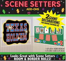 TEXAS HOLDEM Scene Setter card party wall decoration kit POKER 2 pcs cards chips