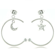 18k White Gold EP Brilliant Cut Crystal Star & Moon Stud Earrings