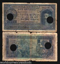 PORTUGUESE INDIA 20 RUPEES P38 1945 INDIAN SHIP INDIAN MONEY ASIA BILL BANK NOTE