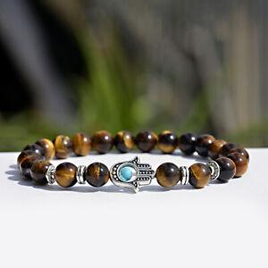 Hamsa Hand of Fatima Natural Lava Tiger's-eye Stone Silver Beads Lucky Bracelets