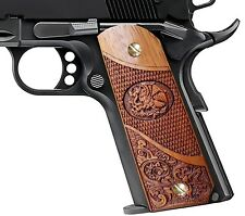 1911 Full Size Colt Sig Springfield Grips Exotic Solid Rosewood Scroll & Eagle
