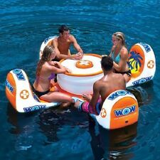 4 Person Inflatable Island Table Raft Game Pool Beach Water Land Picnic Floating