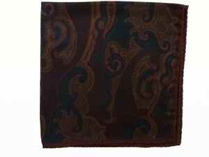 Zegna Pocket Square Muted brown & black paisley, pure silk