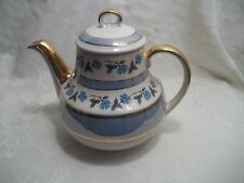 vintage gibson teapot blue white and gold trim with cornflower motif C post 40s/