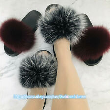 2020 Real Fox Fur Slides Women's Sliders Summer Beach Sandals Slippers Shoes