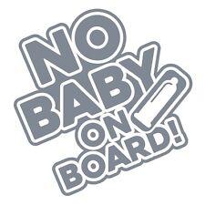 NO BABY ON  BOARD Funny Hilarious Car Bumper Vinyl Decal Sticker Silver Metallic