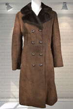 Vintage 1970s Double Breasted Sheep Skin Faux Shearling Womens Fitted Coat 12