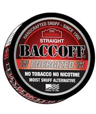 BACC-OFF Non-Tobacco Nicotine Free Herbal Snuff - Energized Straight - 5 Cans