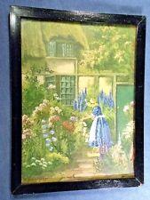 ENGLISH COUNTRYSIDE FLOWER GARDEN SCENE ART PRINT Cottage FRAMED & GLAZED