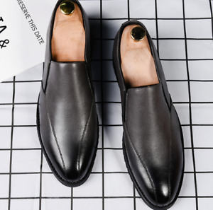 Mens Leather Shoes Slip-on Business Flat Korean Style Pointy Toe Casual Loafers