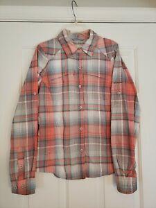 Columbia Fishing Vented Long Sleeve Shirt Omni-Shade Blue Pink Plaid Women's S