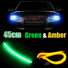 2x 45cm Green Amber Switchback Flexible LED Light Bar Car Motorcycle Accessories