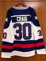 Jim Craig #30 Miracle on Ice Movie USA Ice Hockey jersey blue and white color
