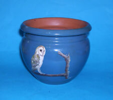 Studio Pottery - Attractive Planter With Hand Painted Owl On Branch (Signed).