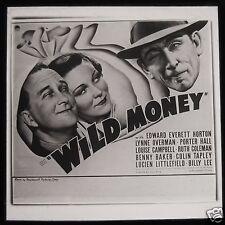 Glass Magic Lantern Slide WILD MONEY FILM CINEMA ADVERT 1937 EDWARD EVERETT