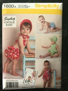 Simplicity 1600 Pattern Babies' Vintage Romper Set bikini ruffles panties bonnet