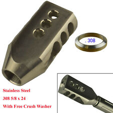 Stai0n0000000less Steel 308 Tanker Style Muzzle Brake 5/8x24 Thread+Crush Washer