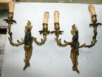 Unusual PAIR Bronze Japanese vtg sconces wall lights bronze figurines geisha man