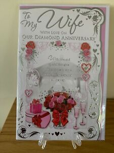 Large Diamond 60th Wedding Anniversary Card For Wife - Celebration Gold Foil