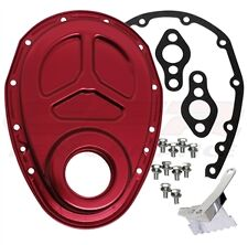 CHEVY SMALL BLOCK 283-305-327-350-400 ALUMINUM TIMING CHAIN COVER RED ROLLER CA