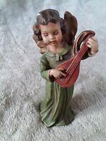 Achatit Naturstein Figur musizierender Engel mit einer Laute handgemacht TOP