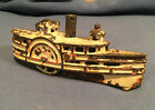 """Antique Early 1900's A.C. Williams 6"""" Cast Iron Steam Paddle Wheel River Boat"""