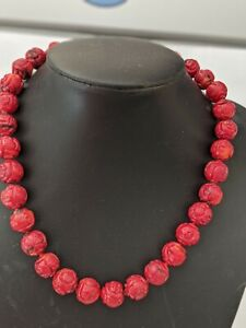 RED CORAL HAND CARVED BEADED KNOTTED NECKLACE, RARE 40CM LONG &WEIGHT 86.4 GRAMS