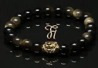 Obsidian schwarz - goldfarbener Löwenkopf - Armband Bracelet Perlenarmband 8mm