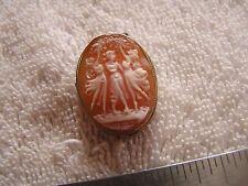 Antique Art Nouveau Shell Cameo 3 Dancers Spirit Muses Sterling Case