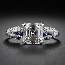 Vintage Art Deco Asccher Cut White Diamond Engagement & Wedding Ring 925 Silver