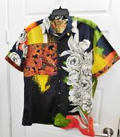 Robert Graham Limited Multicolor Floral  Scull Button Down Short Sleeve Shirt XL