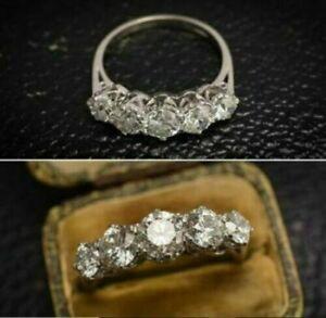 2.00 Ct Brilliant Cut 5 Stone Round Diamond Engagement Ring 14k White Gold Over