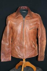 "RARE VINTAGE 1930'S-1940'S  ""FIELD & STREAM""  BROWN LEATHER JACKET SIZE SMALL"