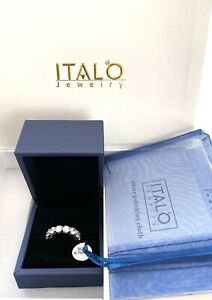 Italo Jewelry White Topaz Sterling Anniversary Ring Size 6 3/4. NEW