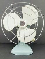 "Vintage Knapp Monarch Kwik Kool Cage Fan Aqua Blue White Plastic Blades 9"" Works"