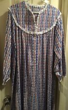 ❤LANZ of SALZBURG Flannel Nightgown Tyrolean RED WHITE BLUE Floral Size 2XL
