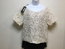 Plenty by Tracy Reese Womens Lace Tee - Ecru Sz Small  MSRP $168 NWT