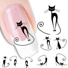 Cat Water Transfer Slide Decal Sticker Nail Art Tips To Decor XF1442 Popular HOT