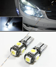 PAIR EURO 6K PURE WHITE 5 SMD LED CANBUS ERROR FREE T10 194 168 W5W LIGHT BULB