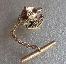 Vintage Corbata Pin Stud Tac Tack década de 1960 década de 1970 Mod en tono dorado de metal diseño inusual