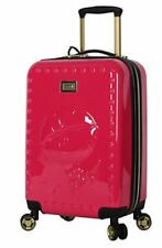 """BETSEY JOHNSON 20"""" BIG KISS SPINNER LUGGAGE SUITCASE CARRY ON MAGENTA NEW PINK"""
