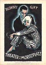 Original vintage poster print BLONDE POISON FILM 1920 Fenneker