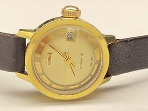 beautiful vintage vulcain 21 jewels automatic date swiss made ladies wristwatch